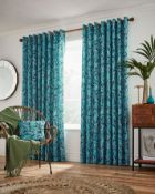"""BAGGED HELENA SPRINGFIELD OASIS EYELET ROOM DARKENING CURTAINS BLUE 90""""X72"""" RRP £58.99Condition"""