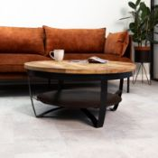 BOXED CAMROSE IRON WOODEN ROUND COFFEE TABLE (IRON PLATE) 90CM RRP £399.00Condition