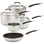 MEYER STAINLESS STEEL INDUCTION PAN SET RRP £89.99Condition ReportAppraisal Available on Request-