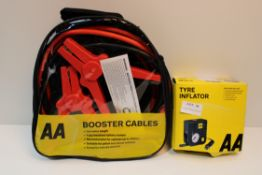 X 2 AA ITEMS TO INCLUDE TYRE INFLATOR & BOOSTER CABLES COMBINED RRP £45Condition ReportAppraisal