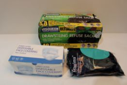 X 3 ITEMS TO INCLUDE DRAWSTRING REFUSE BAGS, FACE COVERINGS & OTHERCondition ReportAppraisal