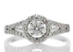 18ct White Gold Single Stone With Halo Setting Ring 0.54 Carats - Valued by AGI £3,218.00 - A