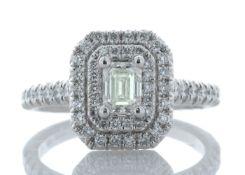 Platinum Single Stone With Halo Setting Ring 0.99 Carats - Valued by AGI £11,600.00 - Platinum