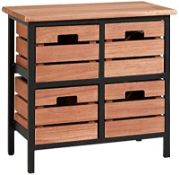 BOXED BLACK AND RED BROWN STORAGE UNIT WITH 4 CRATE DRAWERS, METAL FRAME PRODUCT CODE: CHTGRA4WD RRP