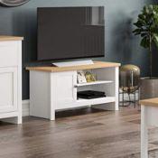 BOXED VIDA DESIGNS ARLINGTON 1 DOOR TV UNIT WHITE & OAK RRP £113.00 (AS SEEN IN WAYFAIR)Condition