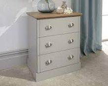 BOXED GFW KENDALL 3 DRAWER CHEST GREY PRODUCT CODE: KEN3DCGRY RRP £99.99 (AS SEEN IN WAYFAIR)