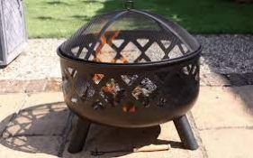 BOXED GARDECO TARA LARGE STEEL FIRE BOWL WITH CRISS-CROSS DECO MODEL: TARA RRP £159.99 (AS SEEN IN