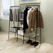 BOXED HEAVY DUTY STORAGE WITH SHOE SHELVES 716B-BK RRP £45.99 (ASD SEEN IN WAYFAIR)Condition