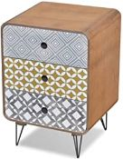 BOXED VIDA XL BEDSIDE CABINET 3 DRAWER BROWN RND RRP £59.99 (AS SEEN IN WAYFAIR)Condition