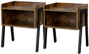 BOXED YAHEETECH RUSTIC BROWN 611265 2PC STACKABLE END TABLE RRP £79.99 (AS SEEN IN WAYFAIR)Condition