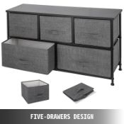 BOXED 5 DRAWER STORAGE CHEST GREY+BLACK SKU: WF199620AAG RRP £45.00 (AS SEEN IN WAYFAIR)Condition