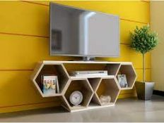 """BOXED DECOROTIKA 54"""" TV STAND - HONEYCOMB DESIGN RRP £134.99 (AS SEEN IN WAYFAIR)Condition"""