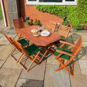 BOXED ROWLINSON GARDEN PRODUCTS 4 PLUMLEY FOLDING CHAIRS WITH CUSHIONS RRP £200.00 (AS SEEN IN