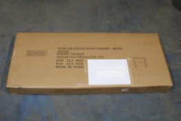 BOXED TECHSTYLE SLIMLINE 2 DOOR SHOE CABINET - WHITE 36510C RRP £105.00 (AS SEEN IN WAYFAIR)