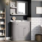 BOXED CROMWELL LEFT HAND 880MM CURVED MIRROR CABINET MATT LIGHT GREY 880 X 700 MM FURNCRM20 RRP £