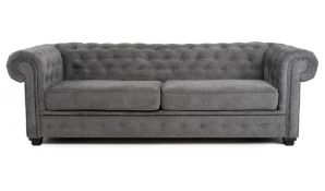 3 SEATER GREY FABRIC CHESTERFIELD, AS SEEN ON WAYFAIR, RRP-£899