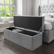 BOXED LARGE OTTOMAN STORAGE TRUNK GREY CA840 RRP £89.00 (AS SEEN IN WAYFAIR)Condition