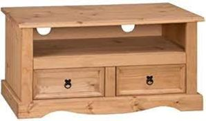 BOXED VIDA DESIGNS CORONA 2 DRAWER FLAT SCREEN TV UNIT SOLID PINE WOOD RRP £69.95 (AS SEEN IN
