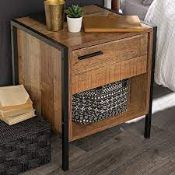 BOXED HOXTON BEDSIDE CABINET VINTAGE WOOD BLACK RRP £74.99 (AS SEEN IN WAYFAIR)Condition