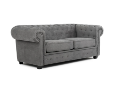 2 SEATER GREY FABRIC CHESTERFIELD, AS SEEN ON WAYFAIR, (NO FEET) RRP-£669.00