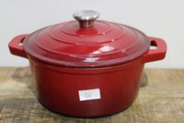 RED LIDDED CASSEROLE DISH Condition ReportAppraisal Available on Request- All Items are Unchecked/