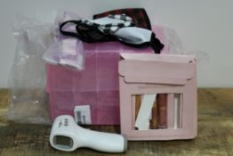 ASSORTED ITEMS TO INCLUDE THERMOMETER, FACE MASKS, CHARLOTTE TILBURY MAKE-UP Condition