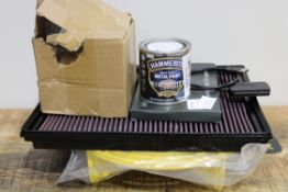 X 5 ASSORTED ITEMS TO INCLUDE METAL PAINTS, AIR FILTER & MORECondition ReportAppraisal Available