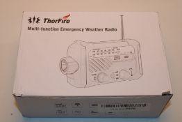 Thorfire Solar Radio/LED Flashlight, Type-C Fast Charging Hand Crank Emergency Radio, SOS Alarm