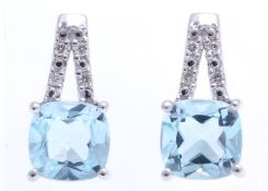 9ct White Gold Diamond And Blue Topaz Earring 0.05 Carats - Valued by GIE £1,445.00 - Two gorgeous