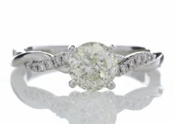 18ct White Gold Single Stone Diamond Ring With Waved Stone Set Shoulders (1.06) 1.22 Carats - Valued