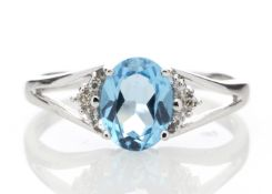 9ct White Gold Diamond And Blue Topaz Ring 0.02 Carats - Valued by GIE £855.00 - This stunning