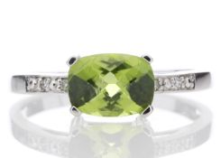 9ct White Gold Peridot Diamond Ring 0.05 Carats - Valued by GIE £1,595.00 - This stunning ring