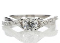 18ct White Gold Single Stone diamond Ring With Stone Set Shoulders (0.52) 0.72 Carats - Valued by
