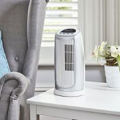 Bionaire BMT014D Mini Tower Fan, Oscillating with Timer & Optional Ioniser, Silver/White £34.
