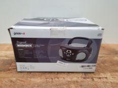 Groov-e GVPS733BK Portable CD Player Boombox with AM/FM Radio, 3.5mm AUX Input, Headphone Jack,