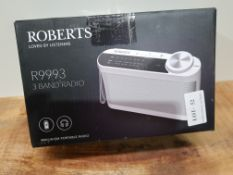 Roberts Radio R9993 Portable 3-Band LW/MW/FM Battery Radio with Headphone Socket - White £19.