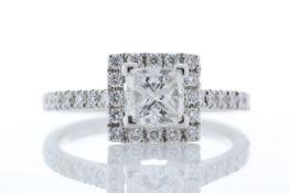18ct White Gold Single Stone Princess Cut With Halo Shoulders Stone Setting Diamond Ring (1.00) 1.36