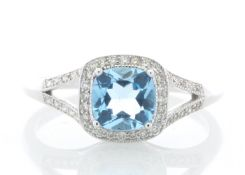 9ct White Gold Blue Topaz And Diamond Ring 0.22 Carats - Valued by GIE £2,695.00 - 9ct White Gold