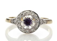 9ct Yellow Gold Round Cluster Claw Set Diamond Amethyst Ring 0.21 Carats - Valued by AGI £1,053.00 -