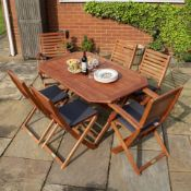 BOXED ROWLINSON GARDEN PRODUCTS 4 PLUMLEY FOLDING CHAIRS WITH CUSHIONS 2 FOLDING ARMCHAIRS & TABLE