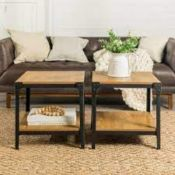 BOXED ANGLE IRON RUSTIC WOOD END TABLE BARNWOOD C20AISTBW RRP £209.00 (AS SEEN IN WAYFAIR)