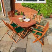 OXED ROWLINSON GARDEN PRODUCTS 4 PLUMLEY FOLDING CHAIRS WITH CUSHIONS RRP £200.00 (AS SEEN IN