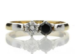 18ct Two Stone Claw Set Diamond With Black Treated Stone Ring 0.50 Carats - Valued by AGI £2,080.