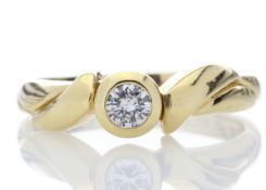 18ct Single Stone Fancy Rub Over Set Diamond Ring D SI 0.17 Carats - Valued by GIE £6,550.00 -