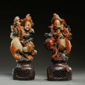 A PAIR OF SHOUSHAN STONE ORNAMENTS, QING DYNASTY, CHINA