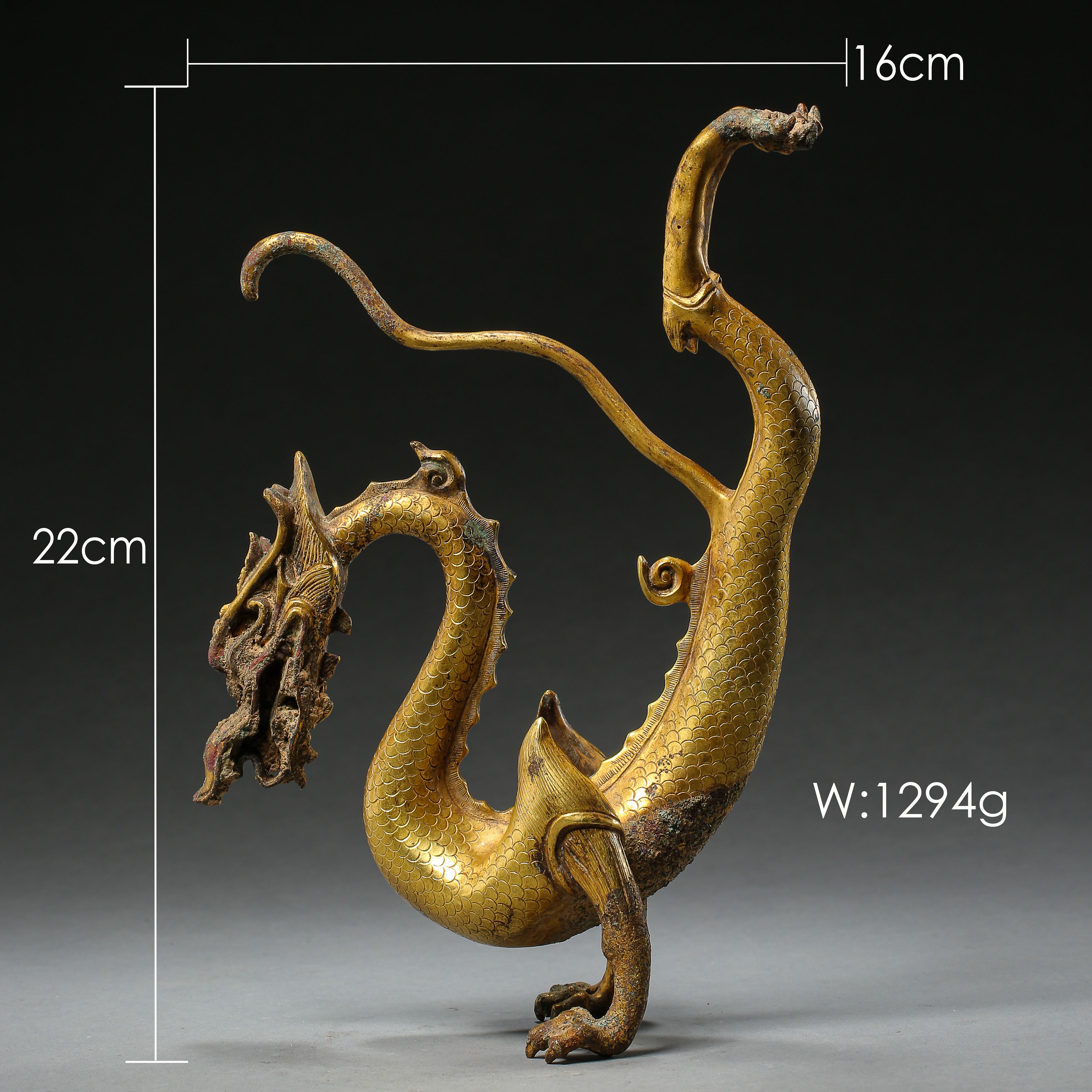 GILT BRONZE DRAGON IN TANG DYNASTY, CHINA - Image 3 of 9