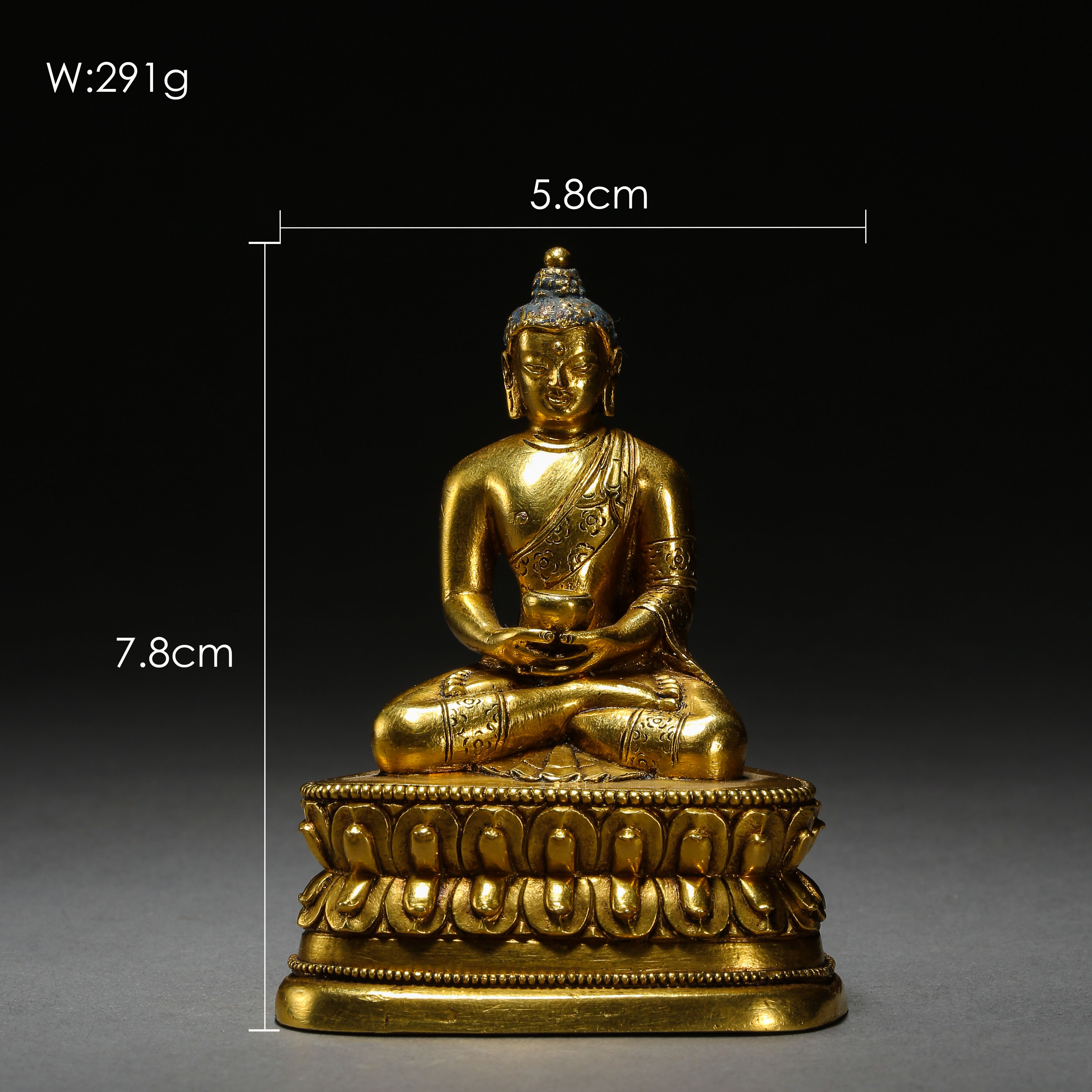SEATED GILT BRONZE BUDDHA, QING DYNASTY, CHINA - Image 3 of 11