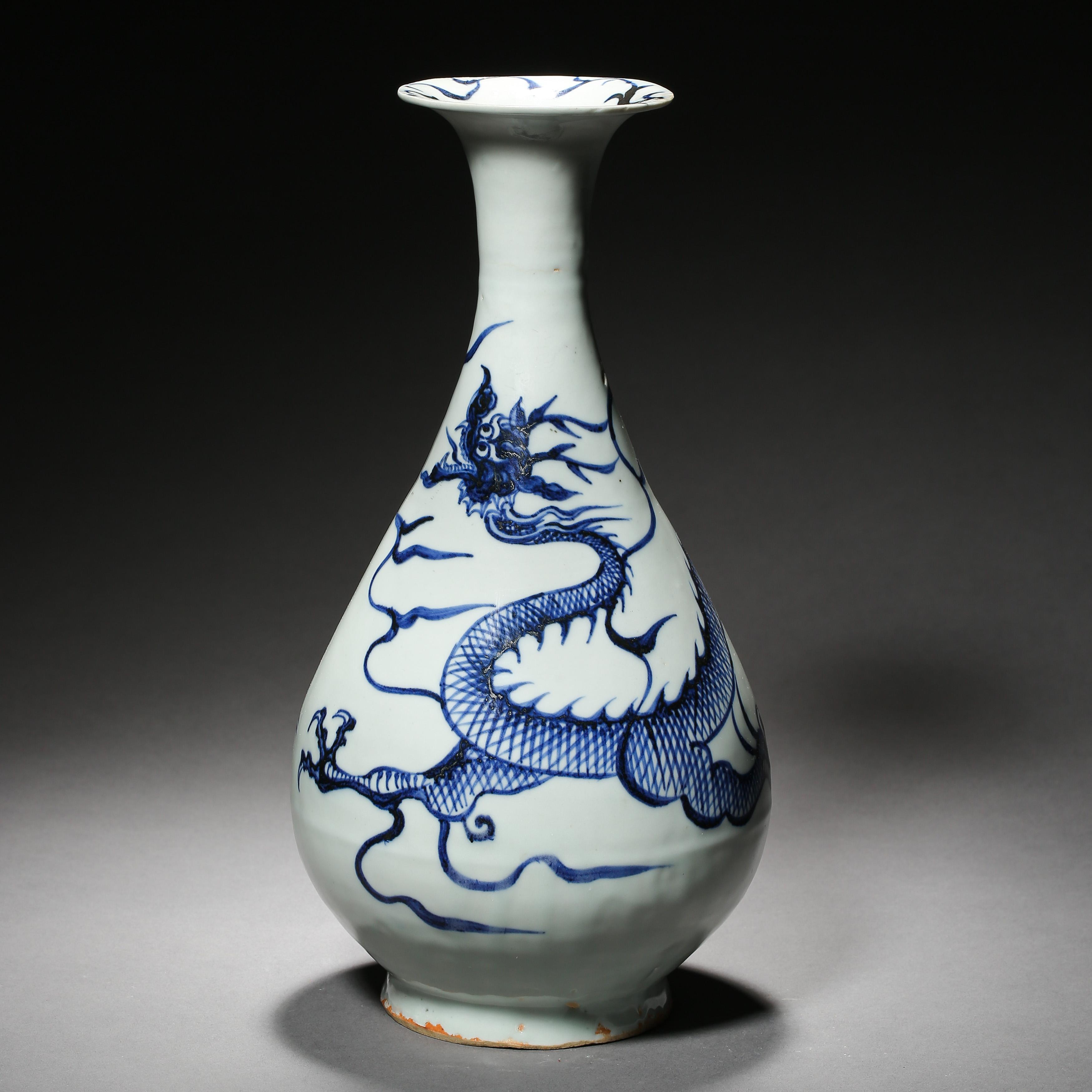 BLUE AND WHITE DRAGON PATTERN VASE, YUAN DYNASTY, CHINA