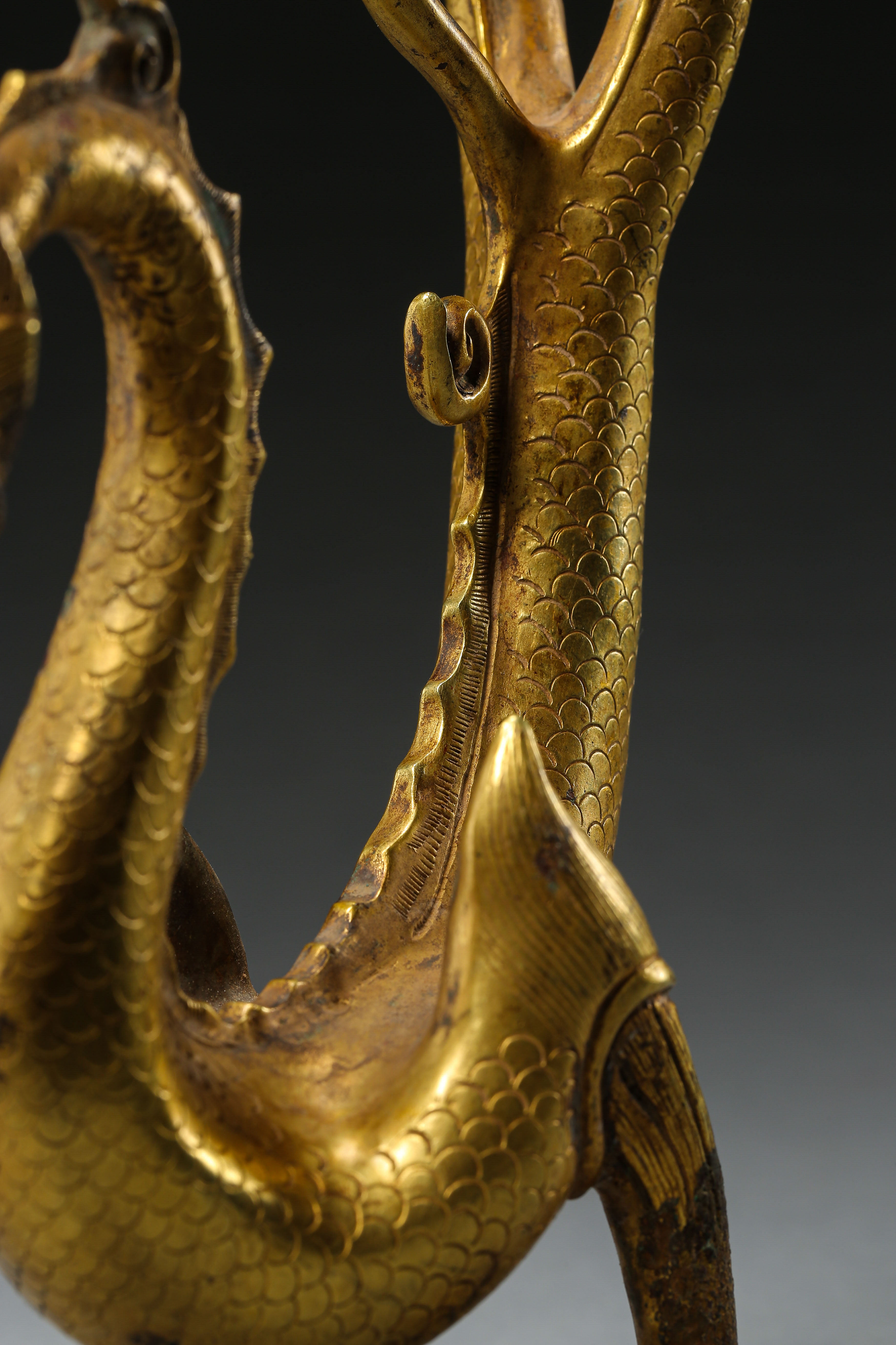 GILT BRONZE DRAGON IN TANG DYNASTY, CHINA - Image 5 of 9