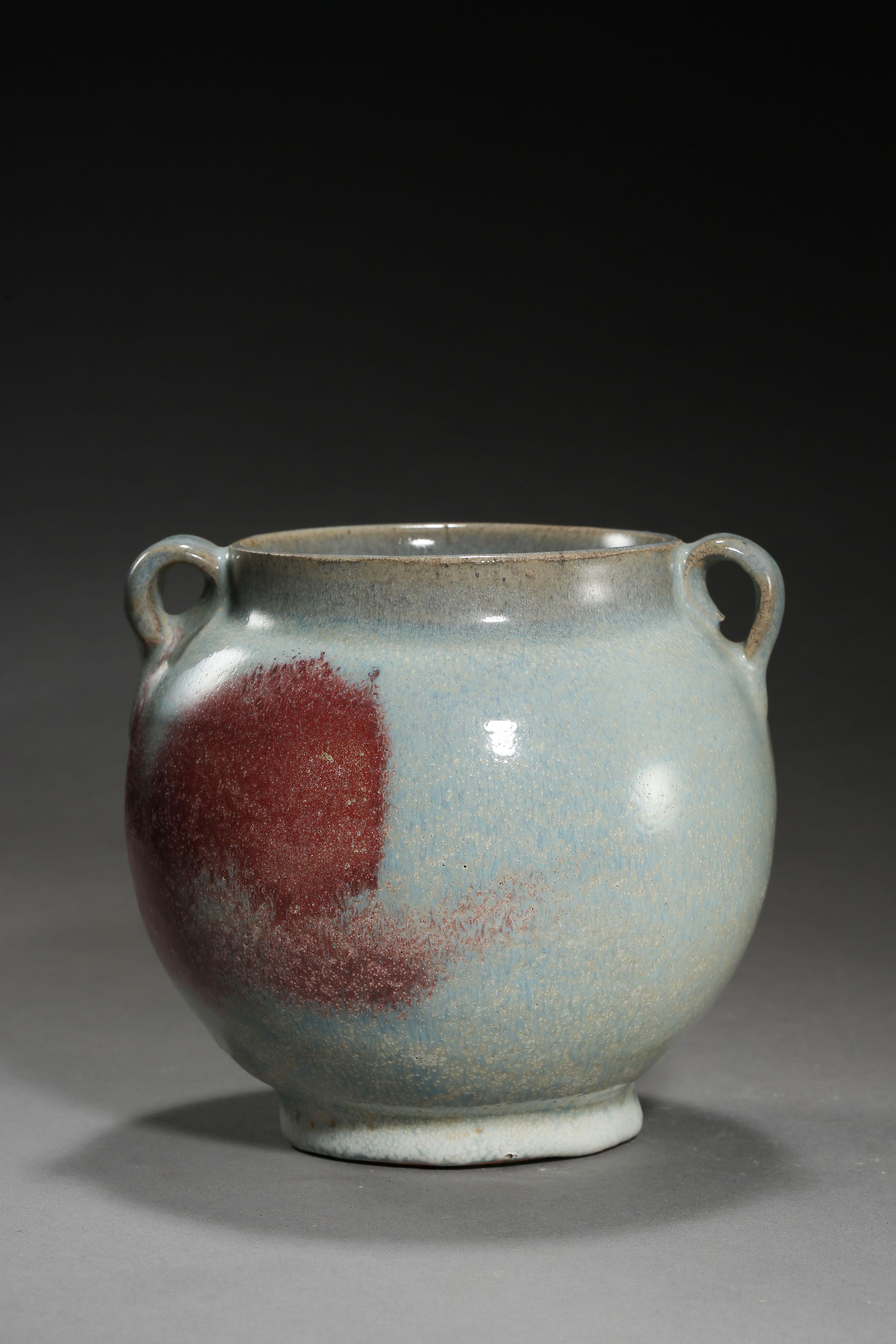 JUN KILN DOUBLE HANDLE JAR, YUAN DYNASTY, CHINA - Image 6 of 10